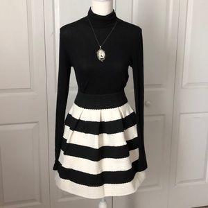 NWT Sis Sis Black and White Scalloped Skirt